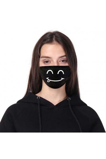 Черная защитная маска с принтом смайла