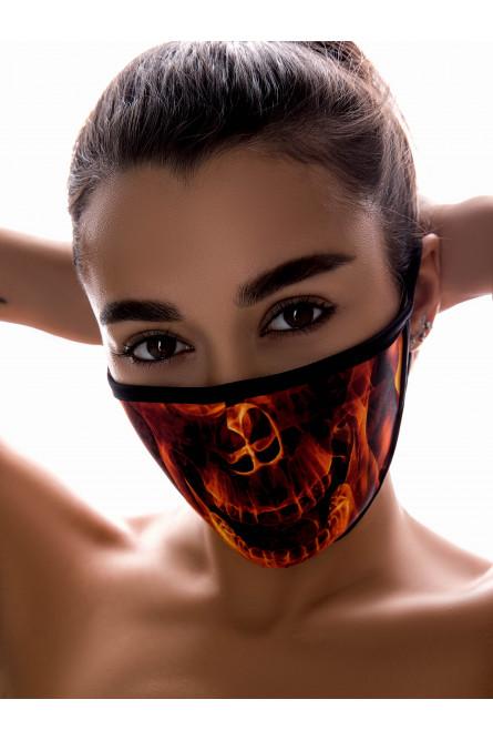 Защитная маска с принтом огненного скелета