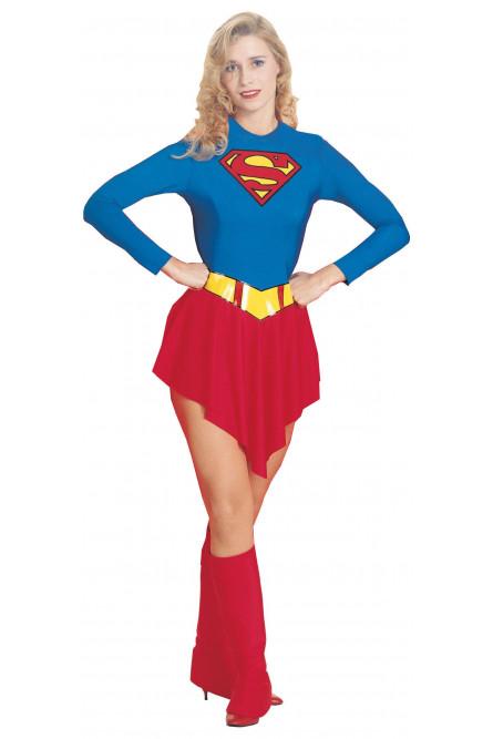 Взрослый костюм супер девушки люкс