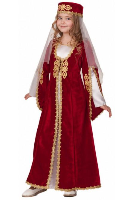 Детский костюм Кавказской девочки в бордовом