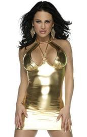 Клубное золотистое виниловое платье