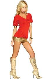 Клубное платье красно-золотое
