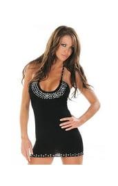 Клубное платье черное с камнями