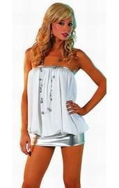 Белое платье в стиле диско