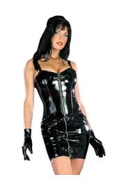Черное виниловое платье