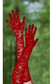 Перчатки красные длинные