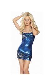Синее платье металлик с паетками