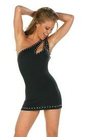 Черное платье с камнями