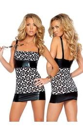 Черно-белое клубное платье