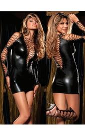 Черное платье на шнуровке