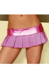 Мини-юбка розовая в горошек