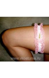 Подвязка розовая с кружевами