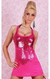 Клубное платье розовое с паетками