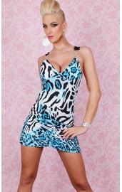 Клубное платье леопардовое синее