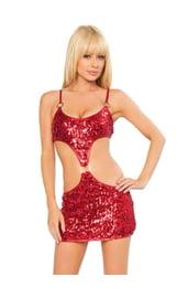 Клубное платье красное с паетками
