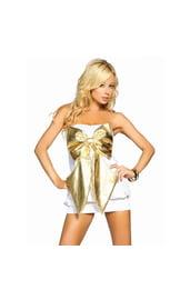 Платье с золотым бантом