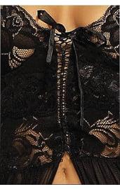 Кружевной пеньюар черный