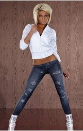 Леггинсы джинсовые с потертостями