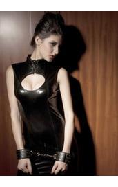 Платье виниловое со шнуровкой на шее