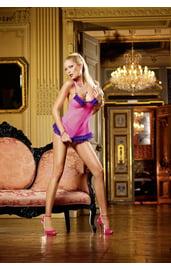Сорочка розовая с фиолетовой оборкой