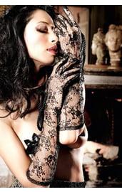 Перчатки черные кружевные секси