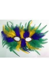 Маска с перьями разноцветная