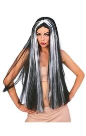 Длинный черно-белый парик