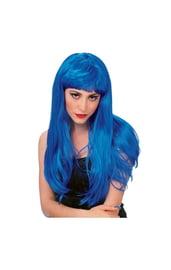 Гламурный синий парик