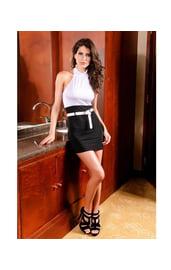 Платье строгое черно-белое