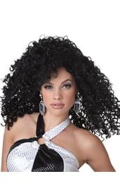 Вьющийся чёрный парик