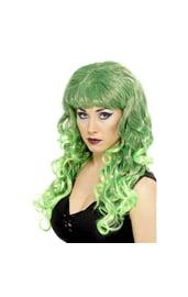 Яркий зелёно-чёрный парик