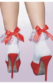 Носочки белые с красным бантом