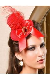 Шляпка красная в викторианском стиле