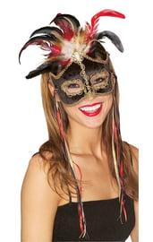 Маска карнавальная с перьями черная