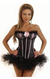 Корсет черно-розовый бурлеск с юбкой