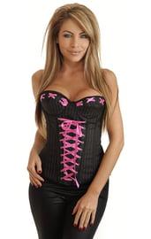 Контрастный корсет с розовой шнуровкой