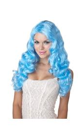 Голубой вьющийся парик