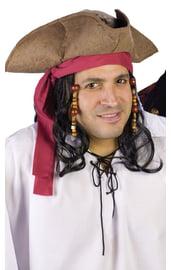 Светло-коричневая пиратская шляпа