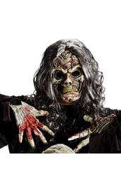 Маска и перчатки зомби с волосами