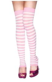 Розово-белые полосатые гетры