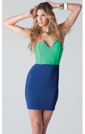 Зелено-синее платье