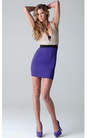 Фиолетово-бежевое платье