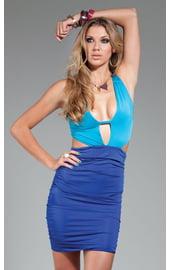 Сине-голубое открытое платье