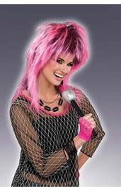Розовый электро парик