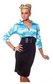 Черно-голубое бизнес платье