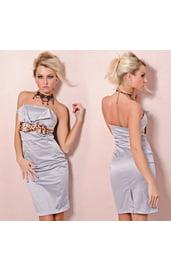 Серое платье-футляр