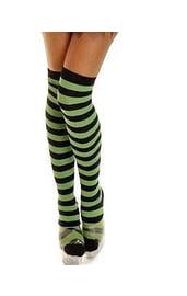 Полосатые черно-зеленые чулки