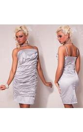 Серое платье-карандаш со сборками