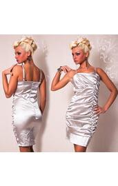 Серебряное платье со складками