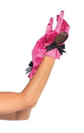 Ярко-розовые атласные перчатки